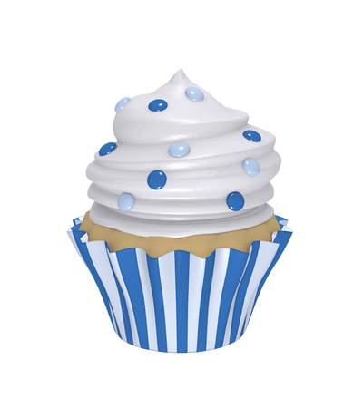 Delicious cupcake in blue and white striped trays with cream topping and blue smarties. 3d render Stok Fotoğraf