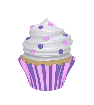 Delicious cupcake in purple-pink striped molds with cream topping and smarties. 3d render