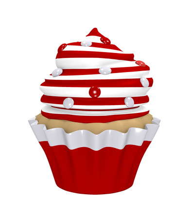 Cupcake with cream cap of red and white rings with smarties. 3d render