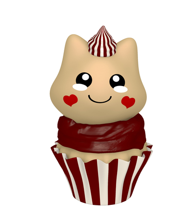 Chocolate cupcake with kitty in kawaii style. 3d render