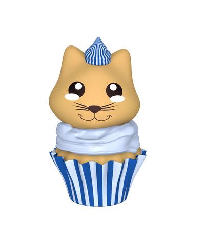 Blue-white cupcake with kitten in kawaii style. 3d render Stok Fotoğraf