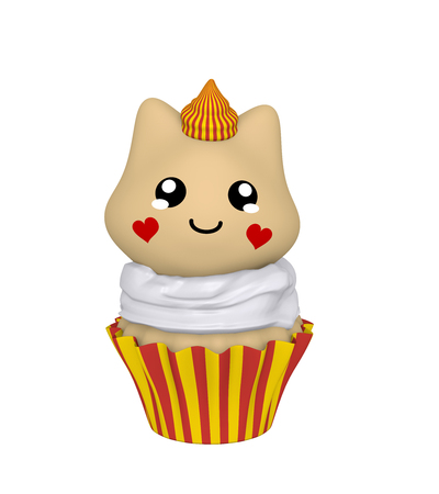 red-yellow cupcake with kitty in kawaii style. 3d render Standard-Bild - 127294042