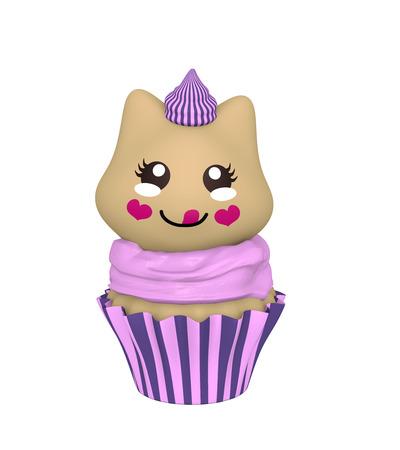 purple cupcake with kitten in kawaii style. 3d render