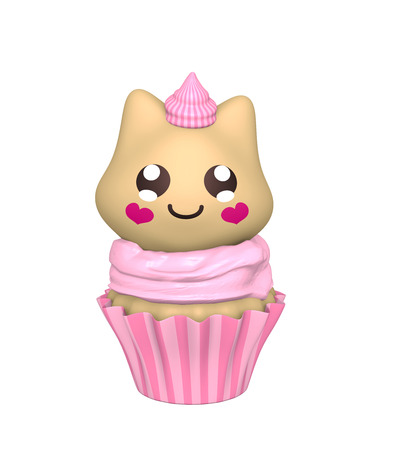 pink cupcake with kitty in kawaii style. 3d render