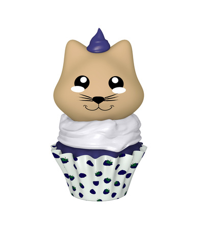 Blueberry cupcake with kitty in kawaii style. 3d render