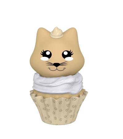 Hazelnut cupcake with kitty in kawaii style. 3d render