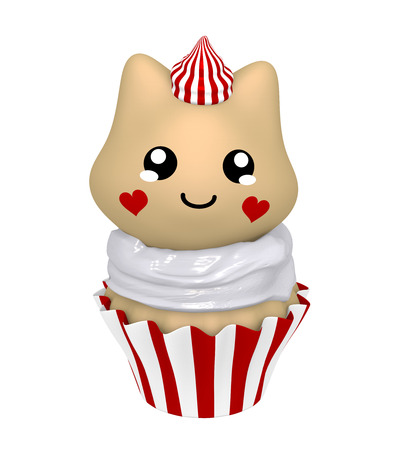 red and white cupcake with kitty in kawaii style. 3d render Standard-Bild - 127294101