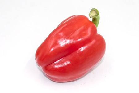 Crunchy red pepper isolated on white Stok Fotoğraf