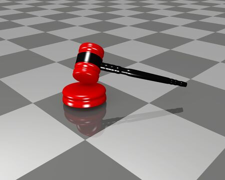 modern judge gavel with reflection in the ground. 3d rendering