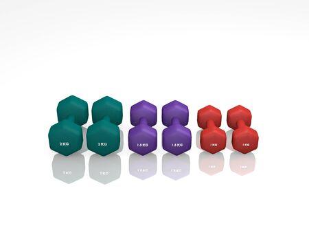 different dumbbells for women. 3d rendering Standard-Bild - 130754841