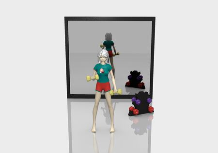 3d girl is exercising with dumbbells on white floor with reflection. Behind her is a mirror. 3d rendering Standard-Bild - 130754844