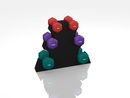 Different dumbbells for women in the stand. 3d rendering Standard-Bild - 130754848