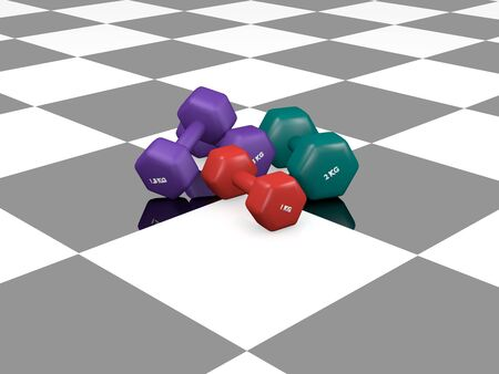 various dumbbells on black and white ground with reflection. 3d rendering Standard-Bild - 130754846