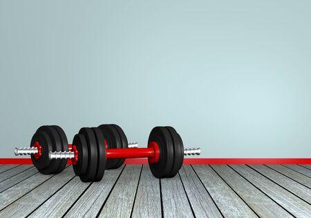 Two dumbbells on wooden floorboards. 3d rendering Standard-Bild - 130754845