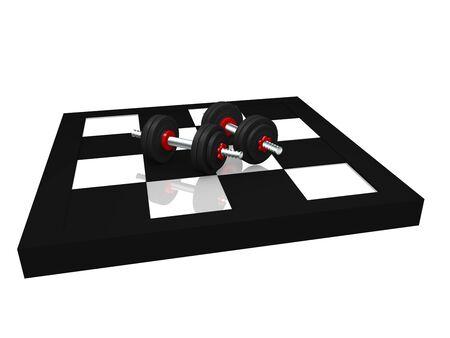 two miniature dumbbells on a chessboard. 3d rendering Standard-Bild - 130754851