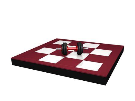 Miniature dumbbell on chessboard. 3d rendering Standard-Bild - 130754853