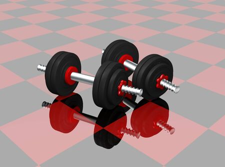 two dumbbells on red black checkered floor with reflection. 3d rendering Standard-Bild - 130754850
