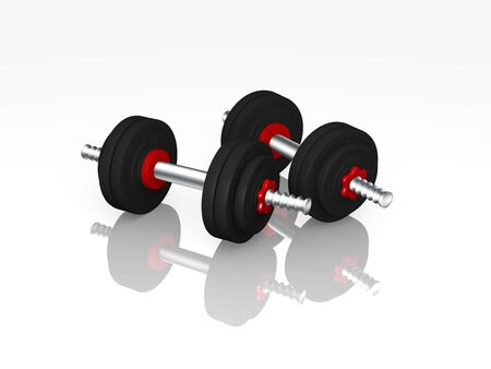 two dumbbells with reflection. 3d rendering Standard-Bild - 130754854
