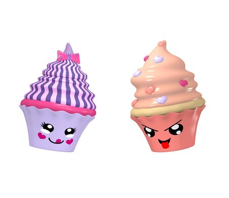 two cute kawaii characters as cupcakes isolated on white. 3d render Standard-Bild - 130754852