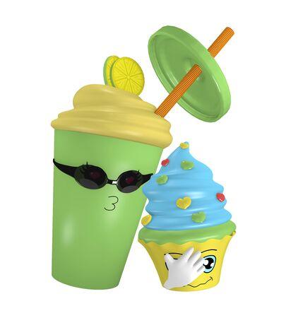 Desperately in love lemon milkshake. In love with a cupcake. 3d rendering Standard-Bild - 130754877