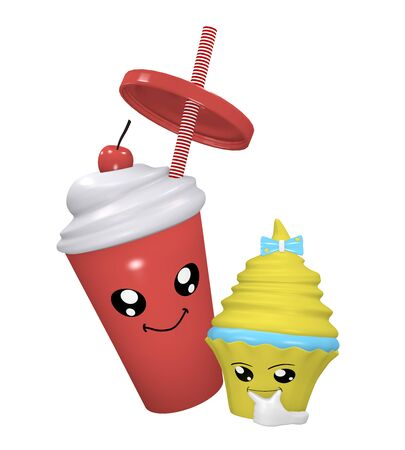 Kawaii cherry milkshake with smiling face and thinking cupcake. 3d rendering Standard-Bild - 130754879