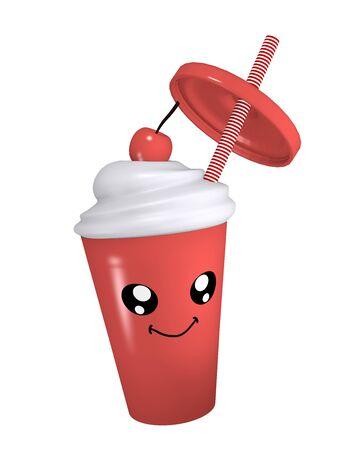 Kawaii cherry milkshake with smiling face. 3d rendering Standard-Bild - 130754881
