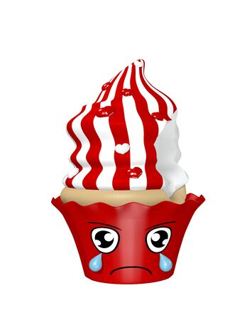 sad kawaii character as cupcakes isolated on white. 3d render Standard-Bild - 130754880