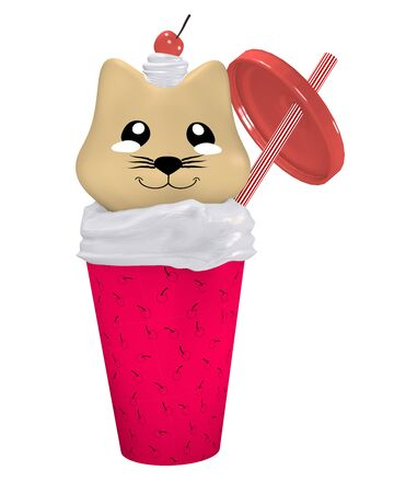 Kawaii cherry shake with cute kitten. Isolated on white, 3d rendering Standard-Bild - 130754887