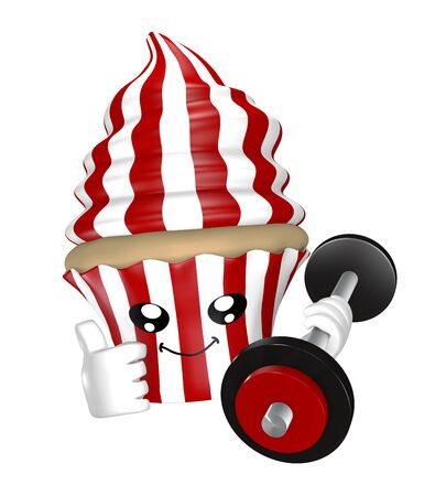 Funny fitness cupcake with dumbbell in red white stripes. 3d rendering Standard-Bild - 130754891