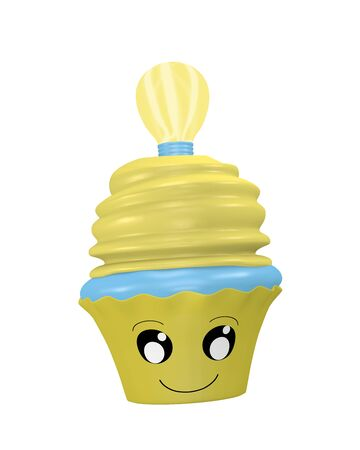 funny cupcake emoticon in kawaii style with lightbulb. 3d rendering Standard-Bild - 130754893