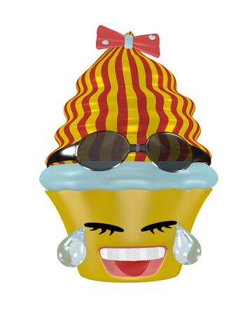 Tears laughing cupcake emoticon in kawaii style with sunglasses. 3d rendering Standard-Bild - 130754890