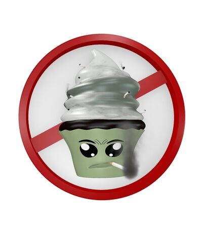 Emoticon as a smoking cupcake as a no smoking sign. 3d rendering