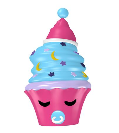 Kawaii cupcake as a sleeping character with sleepyhead. Isolated on white, 3d rendering
