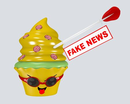 Kawaii cupcake emoticon with arrow on which a sign with the inscription fake news hangs. 3d rendering