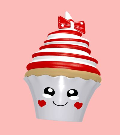cute cupcake with red and white rings, bow and laughing face in kawaii style. 3d render Stockfoto