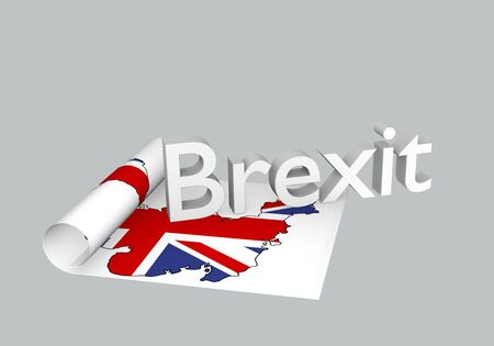 Brexit theme, rolled up paper with map of Great Britain with Brexit as text. 3d rendering Stockfoto