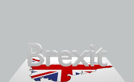 Text Brexit with map of Great Britain. 3d rendering Stockfoto