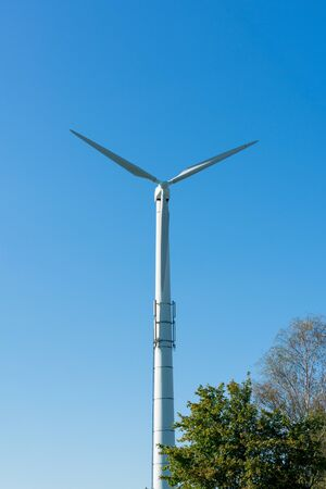 Wind turbine with blue sky. Location: Germany, North Rhine-Westphalia, Borken Stockfoto