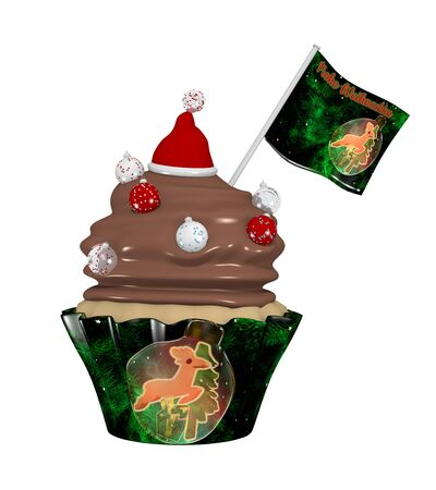 Delicious cupcake for Christmas with Christmas baubles and Santa hat. 3d rendering isolated on white