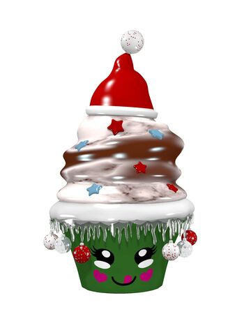 cute cupcake for christmas with christmas baubles and smiling face. 3d rendering isolated on white