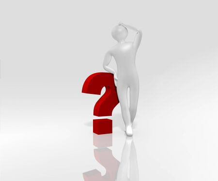3d male relies on a question mark. Isolated on white, 3d rendering