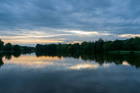 Sunset with reflection in the water. Location: Germany, NRW, Hoxfeld Stockfoto