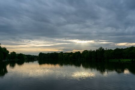 beautiful sunset at the lake. Location: Germany, NRW, Hoxfeld