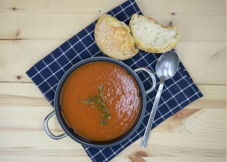 tasty tomato soup in closeup. View from above Stockfoto