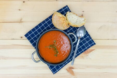 tasty tomato soup prepared in rural style. View from above Stockfoto