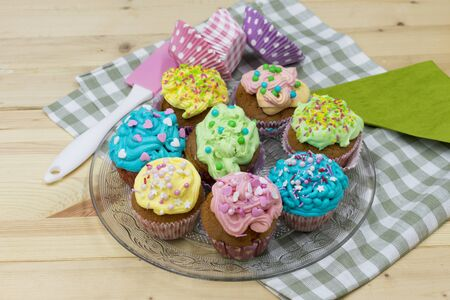 colorful, homemade cupcakes on a platter