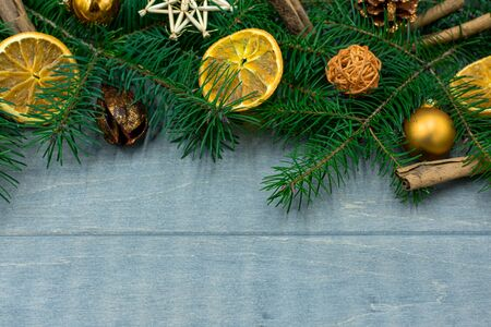 Christmas wood background with decorations and copy space Standard-Bild - 134139605