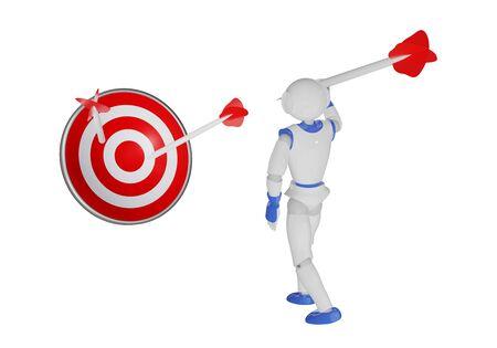 Humanoid robot throws an arrow at a dartboard. 3d rendering Reklamní fotografie - 149850220