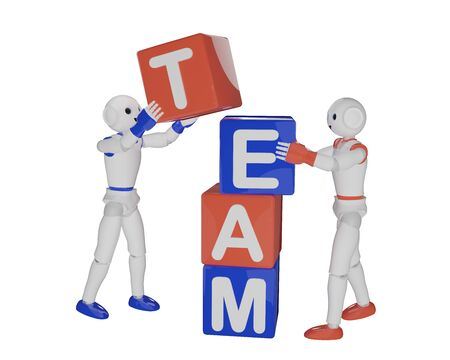 two robots build a stack of letter cubes that make up the word team. 3d rendering