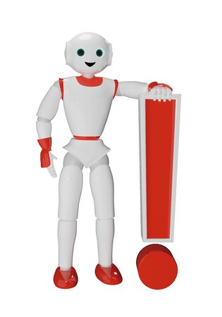 Humanoid robot relies on an exclamation mark. 3d rendering Reklamní fotografie - 149850222